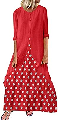 Long Sleeve Patchwork Dress Plus Size Vintage Midi Button Down Dress Swing Party Dresses for Women Elegant Dresses for Women Evening Dress Wave166/® Casual Dresses for Women