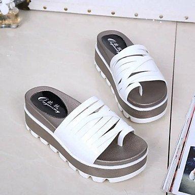 LvYuan Mujer Sandalias Creepers PU Primavera Verano Vestido Creepers Combinación Tacón Plano Blanco Negro Plateado Champaña 5 - 7 cms champagne