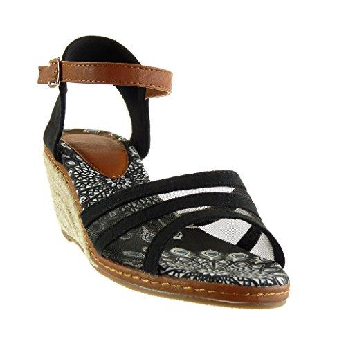 Lanière Angkorly Femme Corde Noir Mule Sandale Compensé Talon cm Résille Cheville Multi Bride 7 Plateforme Mode Chaussure FvxFI
