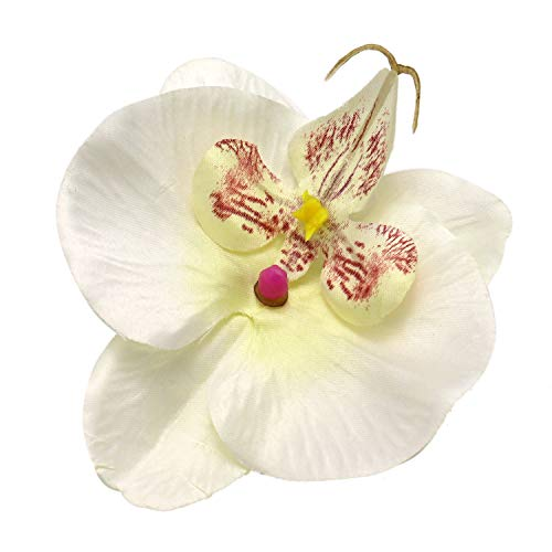 JETEHO 20 pcs White Purple Phalaenopsis Orchid Silk Flower Heads Fake Butterfly Orchid Head Floral Bouquets for Wedding Flowers Accessories Make Bridal Hair Clips Headbands Dress ()