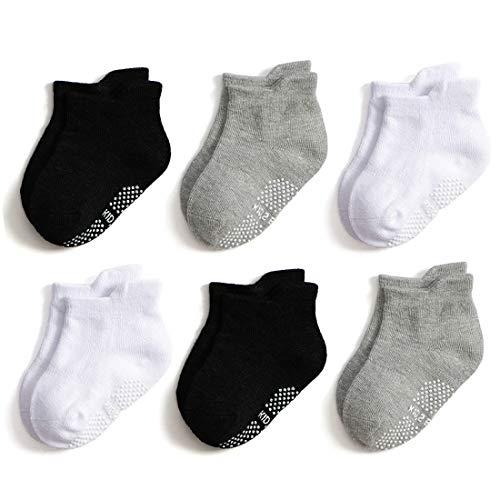 (Epeius Unisex-Baby Non-Skid Socks Toddlers Boys Girls Grip Ankle Socks Non Slip/Anti Skid Tab Socks 6 Pairs Value Pack,Black/White/Light Grey,2-3 Years)