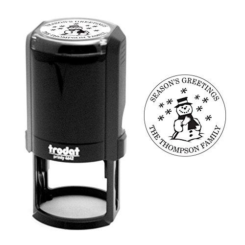 - Trodat Holiday Snowman Stamp, Self-Inking, 1-5/8 Inch Diameter, Times New Roman Font (T4642-02)