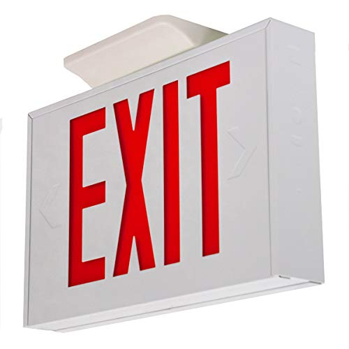 LFI Lights - UL Certified - Hardwired Red LED Steel Exit Light - Battery Backup Egress Sign - EXSTRW