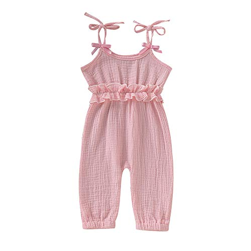 (Mikrdoo Baby Girl Romper Solid Ruffled Strap Jumpsuit Summer Sleeveless Halter Bodysuit Onesie for Toddler Infant Girl)