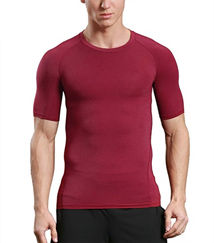 Mens Short Sleeve Compression T-Shirt Quick Dry Fitness Workout Shirt Breathable Base Layer Red ()
