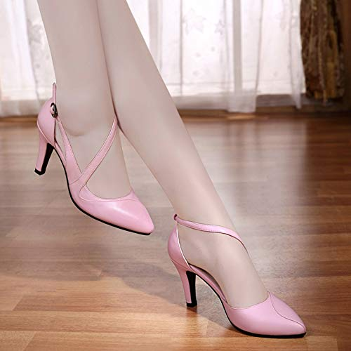 Small heels Wild Female Female High Pink Shoes Autumn Single Size Yukun Women High Pu Heels Shoes Pointed Women'S 7PRqwv5