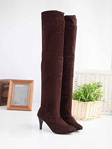 Knee On Pull Stiletto Suede Sexy High Winter The Waterproof CHFSO Boots Brown Solid Heel Womens Over wp7Hxw01