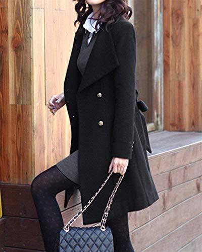 Casual Avec Couleur Slim Manteau Gracieux Trench Mode Stlie Pure Longue Fit Revers Schwarz Poches Survêtement Manches Veste Printemps Manteaux Bouton Femmes Automne qSaOgwEt