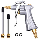 Industrial Air Blow Gun with Brass Adjustable Air Flow Nozzle and 2 Steel Air flow Extension, Pneumatic Air Compressor Accessory Tool Dust Cleaning Air Blower Gun