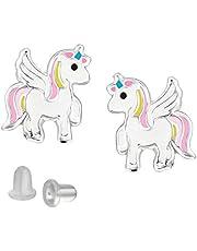FIVE-D Kinderoorbellen eenhoorn paard 925 sterling zilver in sieradenetui