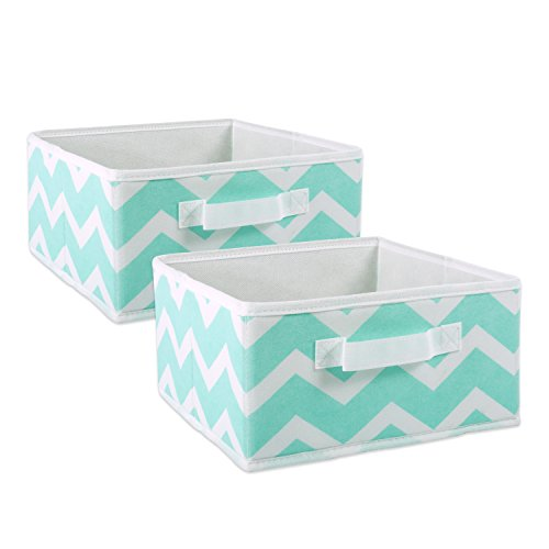 DII Fabric Storage Bins for Nursery, Offices, & Home Organization, Containers Are Made To Fit Standard Cube Organizers (11x11x5.5″) Chevron Aqua – Set of 2