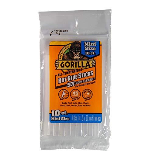 """Gorilla Hot Glue Sticks, Mini Size, 4"""" Long x .27"""" Diameter, 10 Count, Clear, (Pack of 1)"""