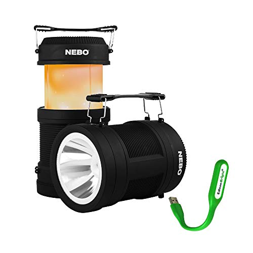 NEBO Big Poppy rechargeable lantern flashlight 6908 bundle: 300 lumen lantern, 120 lumen spot light, flickering flame mode, built-in power bank with EdisonBright USB reading light