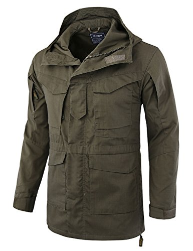 Zhusheng Men's Classic Outdoor M65 Tactical Windbreaker Lightweight Military Jackets (Large, Olive Green)