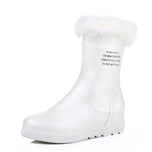 AgooLar Women's PU Low-top Solid Zipper Kitten-Heels Boots White lOpgS