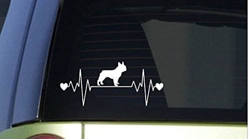 Pink Frenchie Wig (French Bulldog Frenchie Heartbeat Decal Vinyl Sticker|Cars Trucks Vans Walls Laptop| WHITE |7.5 x 3.25 in|CCI629)