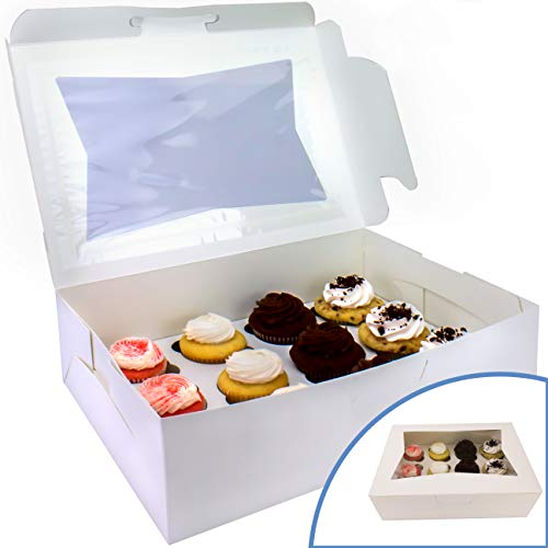 Pro-Quality Bakery Boxes for Cupcakes with Display Window and Cupcake Inserts 12 Pack. Each Recyclable, Bright White Box Displays 1 Dozen Cup Cakes. Ready to Customize for Your Fundraiser or Bake Sale