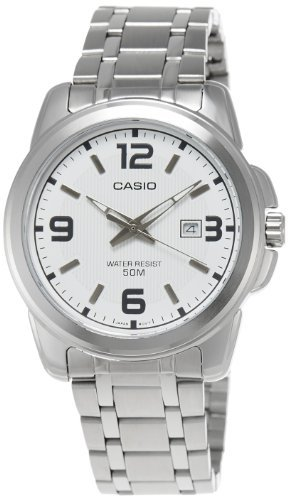 Casio Men's MTP1314D-7AV Silver Stainless-Steel Quartz Watch with White Dial -