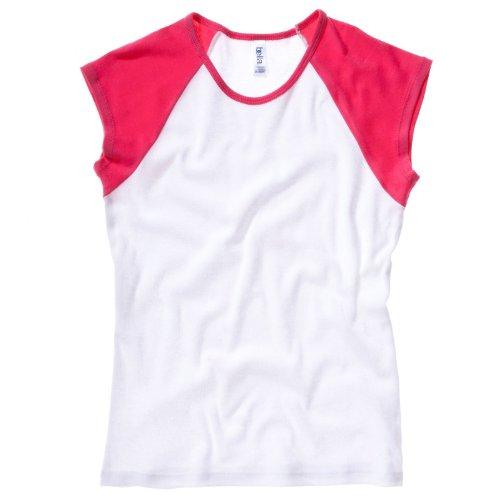 Bella Toile pour bébé Rib Casquette de baseball Raglan Contraste T-Shirt à Manches Blanc/Fuchsia XL
