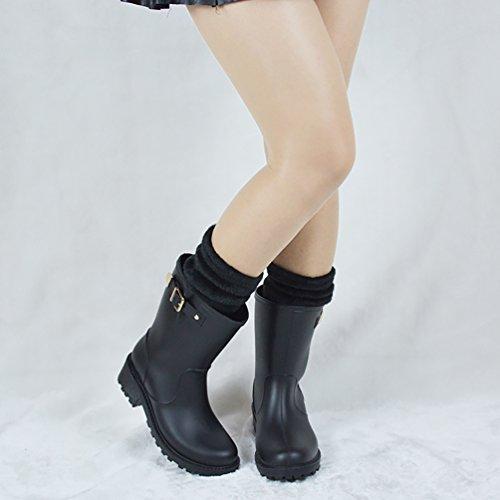 LvRao Botas Tobillo Altas Wellington para Mujeres Boots de Goma de las Señoras Alto-Talón Botines Largos Negro con Calcetines