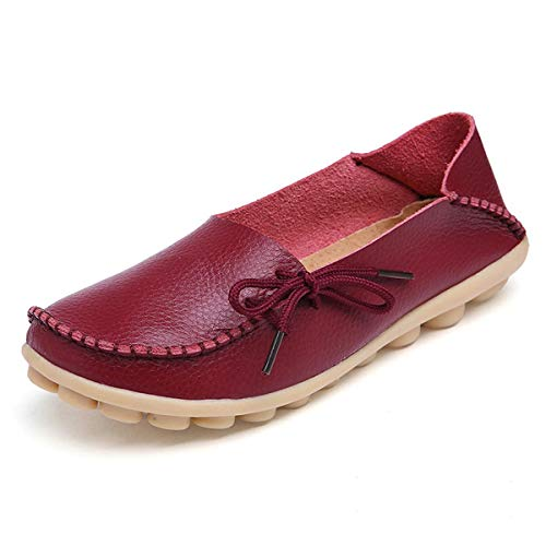 FJWYSANGU Women Leather Loafers Casual Flats Shoes Slip on Slippers Moccasins Driving Shoes Burgundy 9M ()