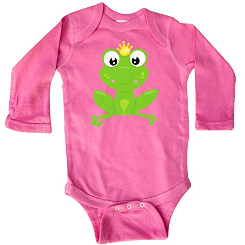 inktastic - Frog Prince, Cute Frog, Long Sleeve Creeper Newborn Raspberry ()