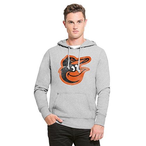 MLB Baltimore Orioles Men's '47 Knock Around Headline Pullover Hoodie, Slate Grey, Large (Mets Sweatshirt Mens)