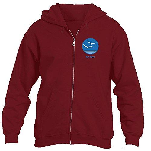 Sea Gull Sweatshirt (Key West, Florida Seagull - Men's Full-Zip Hooded Sweatshirt/Hoodie (5X-Large, Cardinal Red))