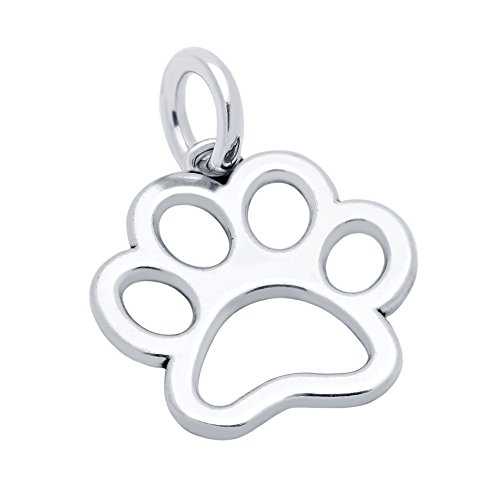 JewelryBadger Sterling Silver Animals Theme Bangle Charm/Necklace Pendant Made in USA (Options Available) (Paw Print)
