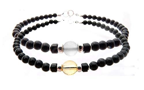 DAMALI Citrine & Moonstone Couples Bracelets, Relationship Bracelets, Friendship Bracelets, Father & Son Bracelets, Matching Gemstone Birthstone Bracelets - Jewels for Gents