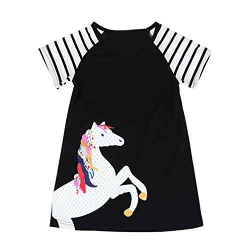 Toddler Kids Fashion Dress GoodLock Baby Girls Short Sleeve Horse Printing Party Dress Outfits Clothes (Black, ize:7T)