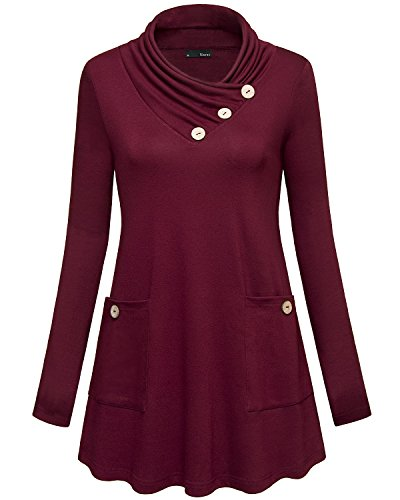 Miurus Cowl Neck Tunics, Womens XL Wine Red Long Sleeve Turtleneck Buttons Side Pocket Casual Flowy Top Loose Fit Tunic Tops