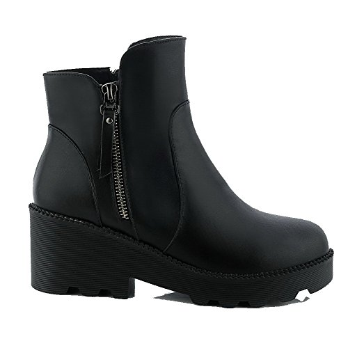 AllhqFashion Damen Blend-Materialien Rund Zehe Stiefel Schwarz-Wasserdicht Plattform