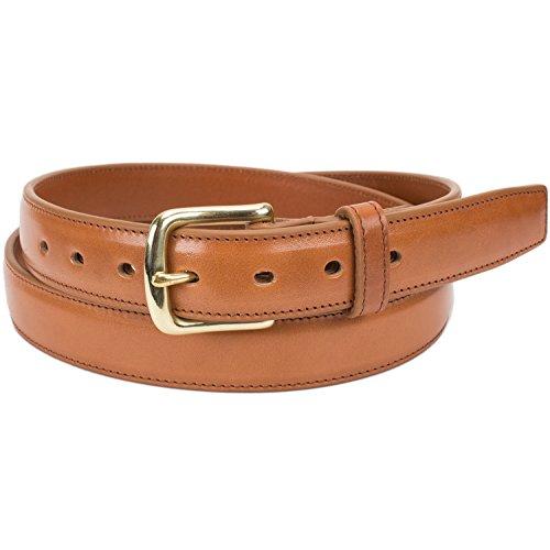 Handmade Italian Leather Dress Belt (Size 42, Cognac)