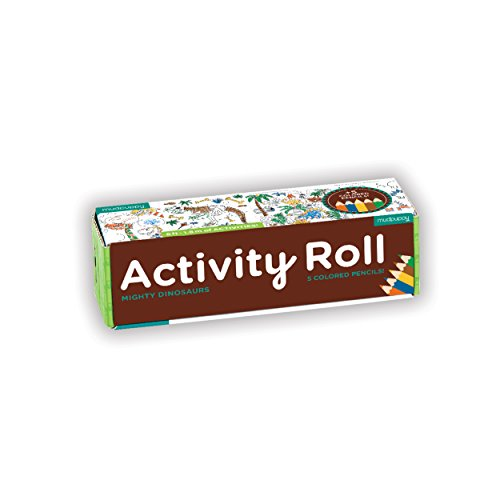 Mudpuppy Mighty Dinosaurs Activity Roll - Age 4+ - 6 Feet of Creative Fun - Coloring, Mazes, Spot The Difference and More - with 5 Colored Pencils - Dinosaur Paper Roll Easy to Store, Take on The Go