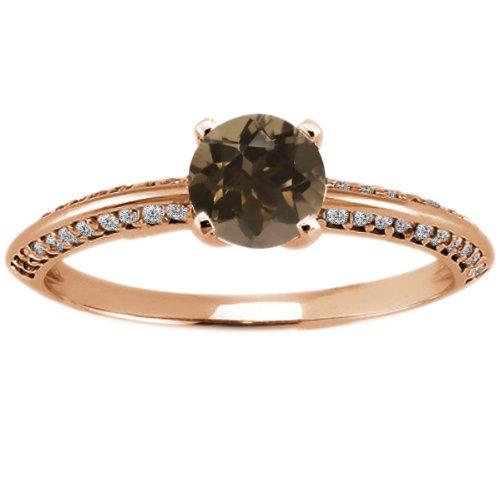 1.04 Ct Round Brown Smoky Quartz 14K Rose Gold (Rose Gold Smoky Ring)