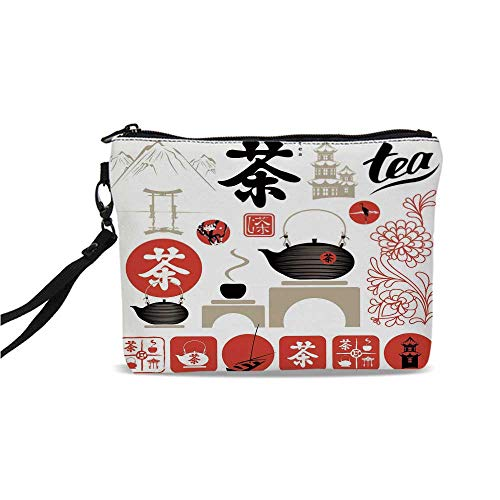 (Tea Party Simple Cosmetic Bag,Japanese Design with Cultural Elements Flowers Fuji Mountain Tea Pot Decorative for Women,9
