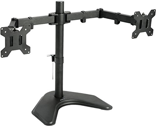 VIVO-Dual-LCD-Monitor-Free-Standing-Desk-Mount-with-Optional-Bolt-through-Grommet-Stand-Heavy-Duty-Fully-Adjustable-fits-Two-Screens-up-to-27-STAND-V002F