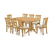 Wood & Style Furniture 9-Piece Dining Table Set Home Office Commerial Heavy Duty Strong Décor