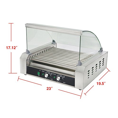 Senrob Electric 30 Hot Dog 11 Roller Grill Cooker Machine 2200-Watt with Cover for Commercial and Household Uses by Senrob (Image #1)