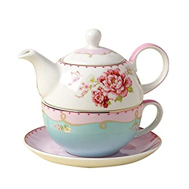 Jusalpha Bone China Teapot for One, Rose Teapot and Saucer Set- Tea Cup with Saucer Set, Pink Roses (Teapot Set 02)