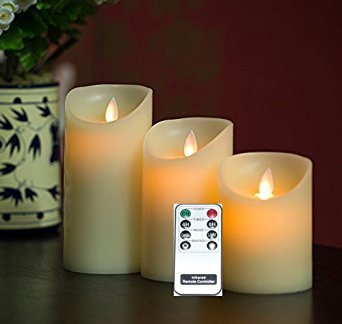 Remote Included 3 Pieces Set Moving Flame Wick Candle wit...
