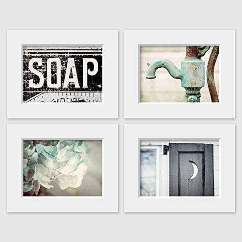 Farmhouse Bathroom Decor Set of 4 Matted 5x7 Prints (fits 8x10 frames). Rustic Bathroom Wall Art in Aqua Black and Teal. Pictures for Bath. -