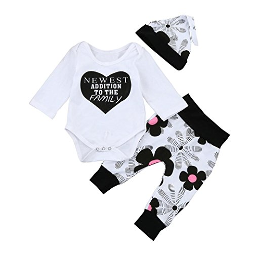 Cat In The Hat Outfit Ideas (Newborn Kids Baby Girls Outfits Clothes, Keepfit Letter Romper Tops+Floral Pants+Hat Set (0-6 Months, White))
