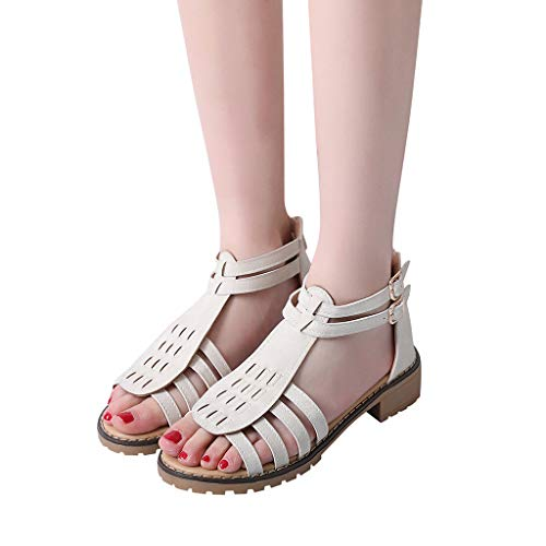 5a80a79908f Gyouanime Womens Flat Wedge Sandals Platform Shoes Beach Outdoor Walking  Sandals Dress Shoes White