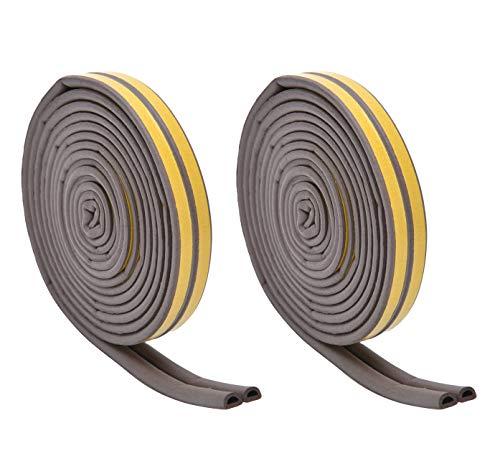 Strongman Tools | 2 Pack Door Window Anti-Collision Self Adhesive Rubber | 40 Foot Brown Weatherproof Seal Weather Stripping | 4 x 10 Feet (Two Pack)