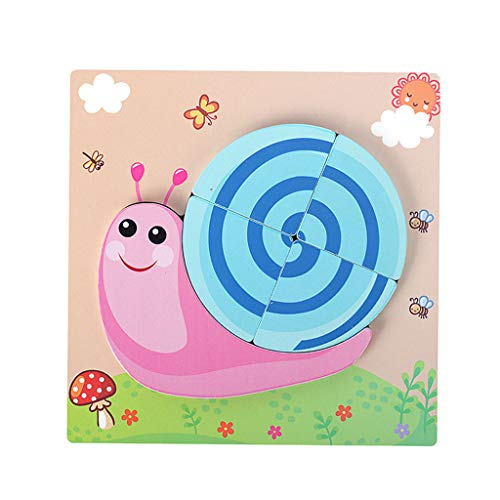 Binory 3D Wooden Cartoon Animal Jigsaw Puzzles Learning Educational Toy Birthday Gift for Toddlers Boys Girls,Bright Vibrant Color Shapes,Developing Baby Hands Eyes Coodination(Snail) ()