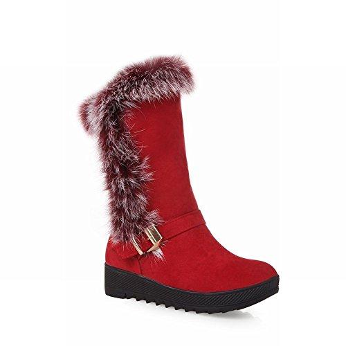 Carolbar Mujeres Buckle Faux Fur Moda Comodidad Botas De Nieve Calientes Rojo