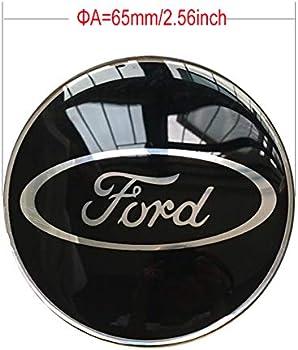 4PCS 65mm 2.56 Auto Car Sticker Wheel Center Hub Cap Logo Aluminium fit for Ford Black
