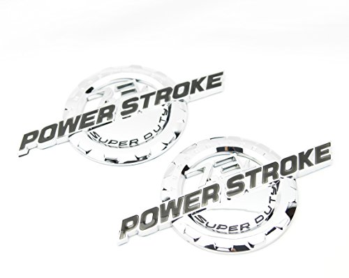 2 NEW CHROME FORD CUSTOM 7.3L F250 F350 POWERSTROKE DOOR BADGES EMBLEMS SET PAIR (Custom Truck Emblems)